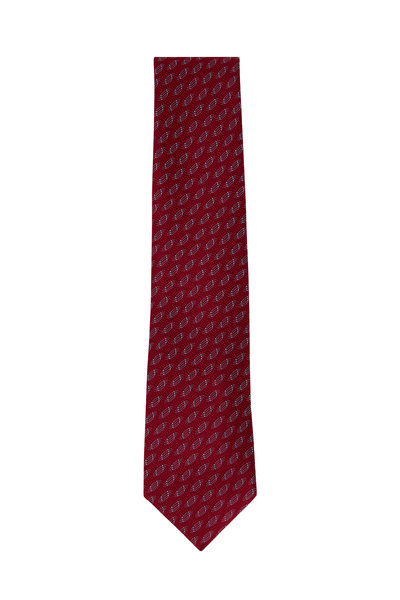 Charvet - Red Geometric Silk Necktie