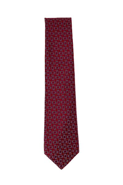 Charvet - Burgundy Geometric Silk Necktie