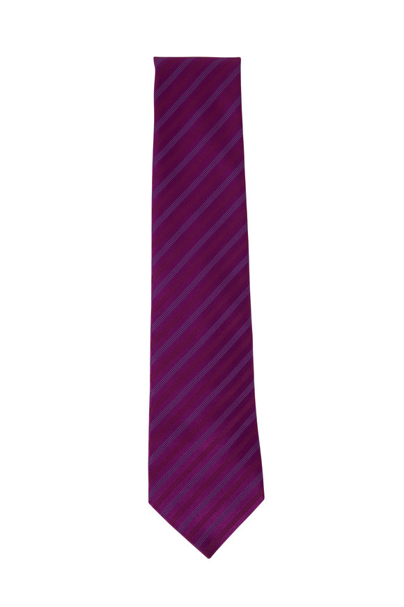 Charvet Purple Striped Silk Necktie