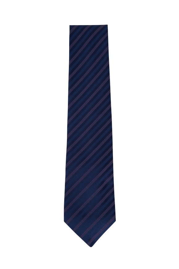 Charvet Navy Blue & Light Pink Striped Silk Necktie
