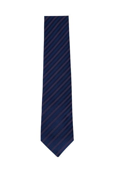 Charvet - Navy Blue & Light Pink Striped Silk Necktie