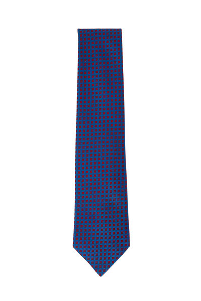 Charvet - Royal Blue & Red Diamond Silk Necktie