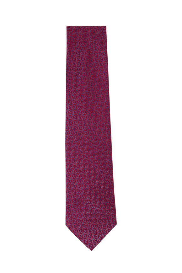 Charvet Red & Light Blue Geometric Silk Necktie