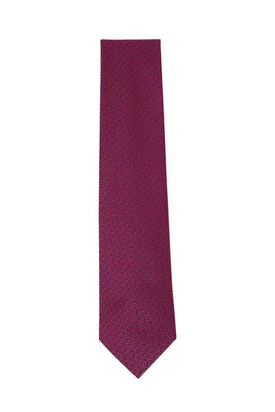 Charvet - Red & Light Blue Geometric Silk Necktie