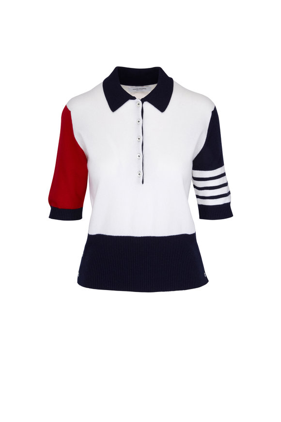 Thom Browne Fun-Mix Cashmere Short Sleeve Sweater