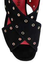 Pas de Rouge - Fleur Black Suede Grommet Sandal, 60mm