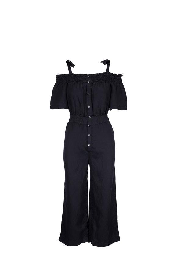 7 For All Mankind Black Smocked Off-The-Shoulder Jumpsuit