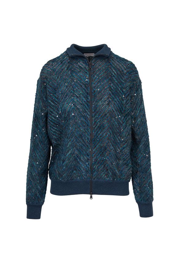 Brunello Cucinelli Jasper Chevron Macro Paillette Front Zip Sweater