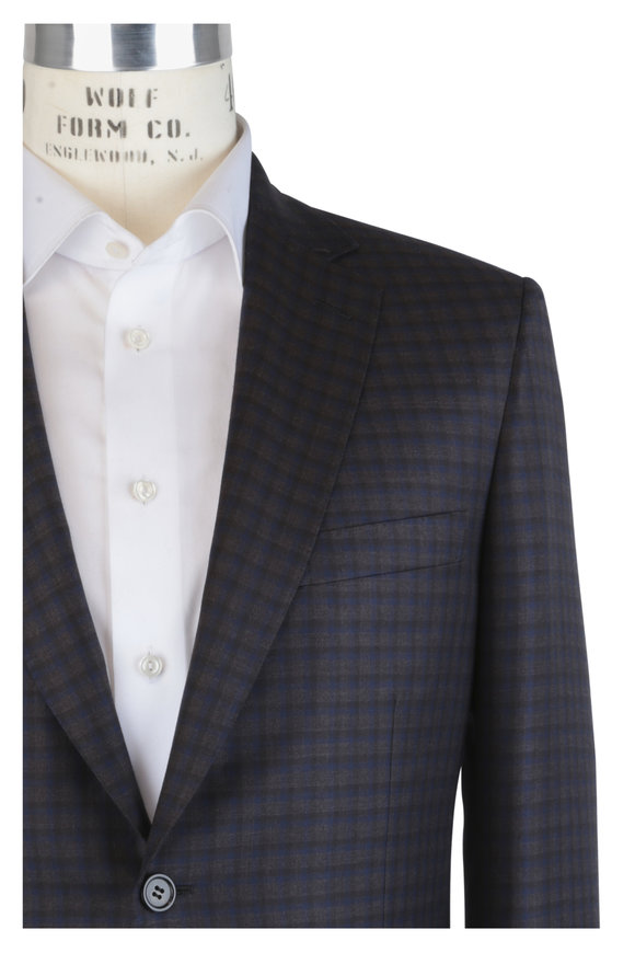 Brioni Blue & Brown Wool Check Sportcoat