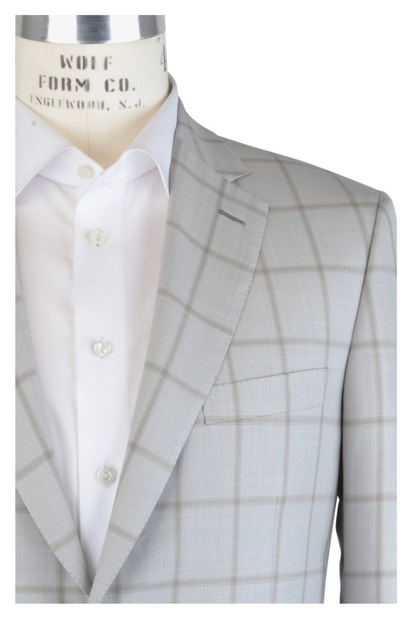 Brioni Beige & Taupe Wool & Silk Windowpane Sportcoat