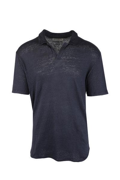 Officine Generale - Simon Navy Blue Linen Polo