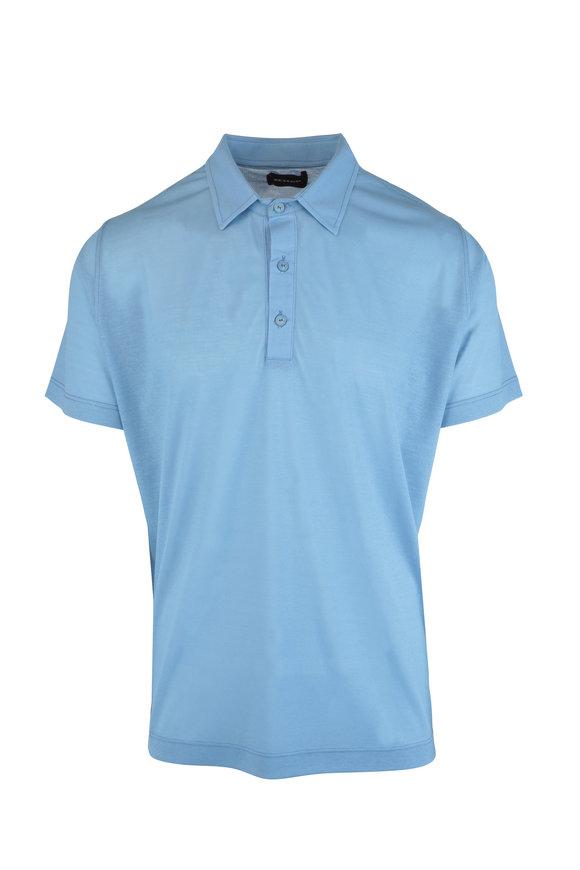 Kiton Light Blue Cotton Polo