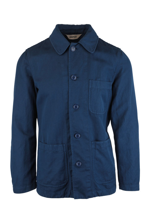 Aspesi Navy Blue Cotton & Linen Jacket