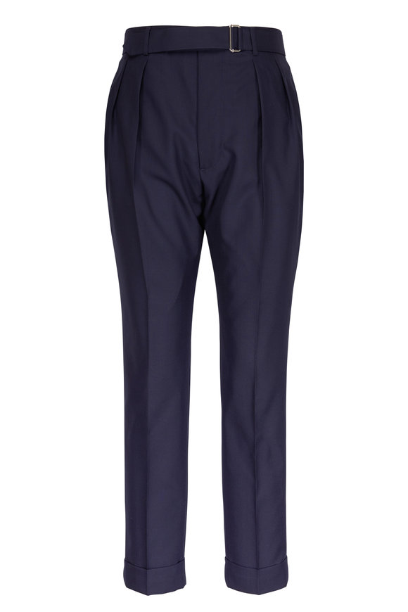 Officine Generale Pierre Navy Fresco Wool Darted Pants