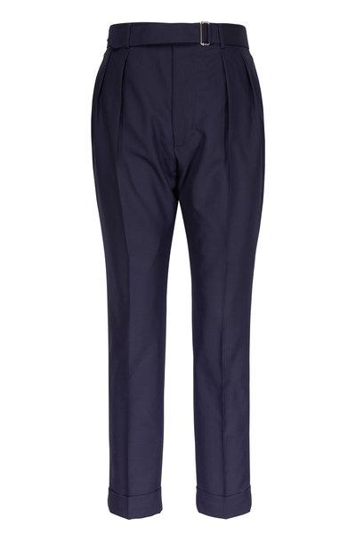 Officine Generale - Pierre Navy Fresco Wool Darted Pants