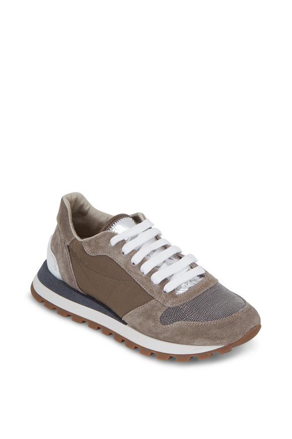 Brunello Cucinelli Mushroom Taffeta Monili Toe Running Sneaker