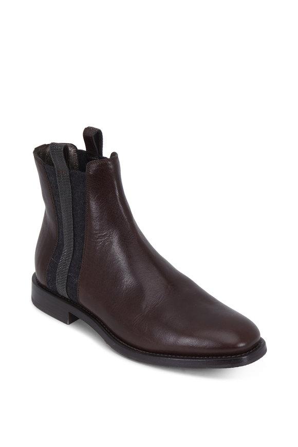 Brunello Cucinelli Espresso Monili Chelsea Boot