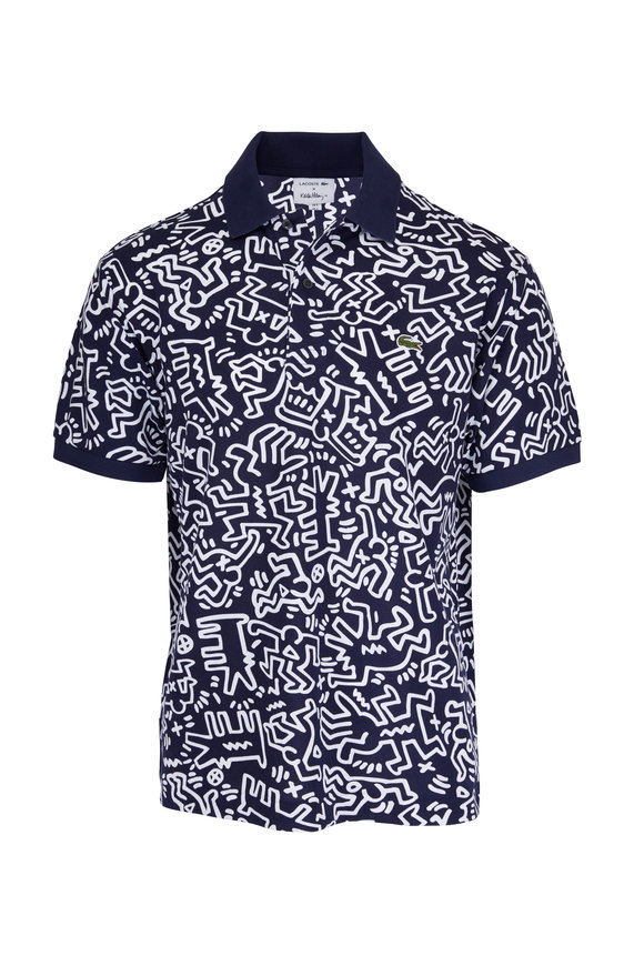 Lacoste Keith Haring Marine Blue & White Printed Polo