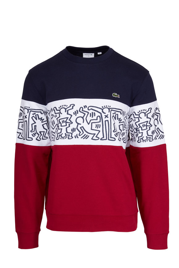 Lacoste Red, White & Blue French Terry Printed Sweatshirt