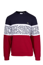 Lacoste - Red, White & Blue French Terry Printed Sweatshirt