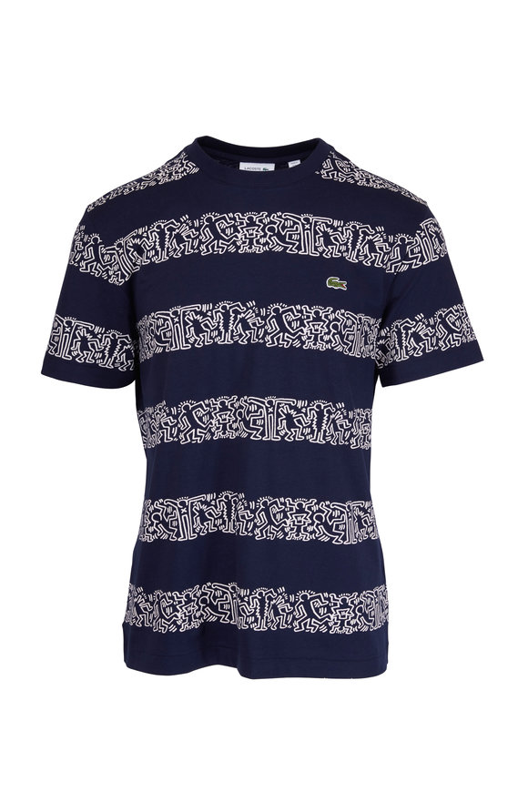 Lacoste Keith Haring Marine Blue Printed Striped T-Shirt