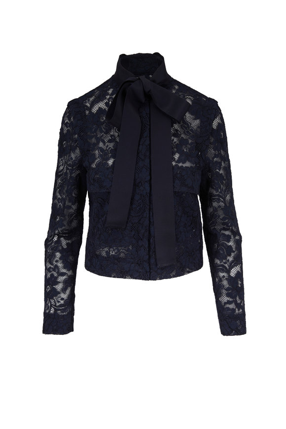 Escada Beyi Navy Blue Lace Tie-Neck Jacket
