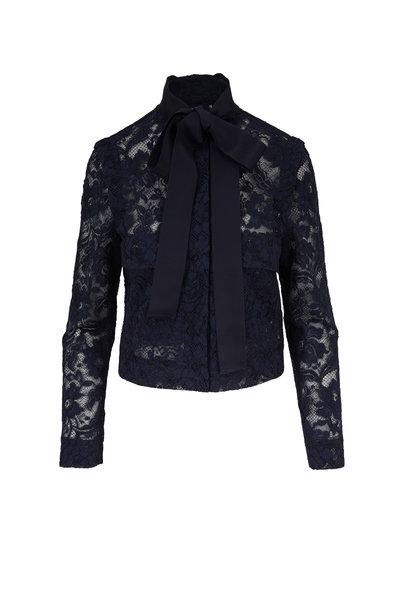 Escada - Beyi Navy Blue Lace Tie-Neck Jacket