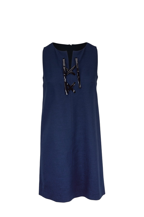 Paule Ka Navy Blue Lace-Up Neck Sleeveless Dress