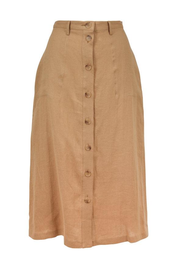 Nili Lotan Avie Sand Linen Button-Front Skirt