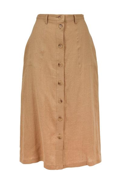 Nili Lotan - Avie Sand Linen Button-Front Skirt