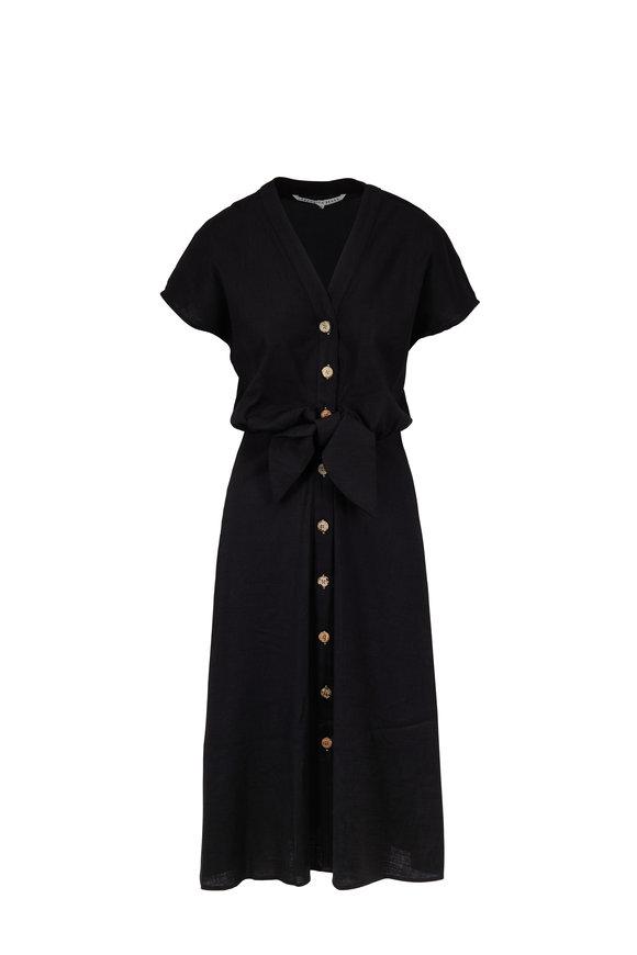 Veronica Beard Giana Black Front-Tie Cap Sleeve Dress