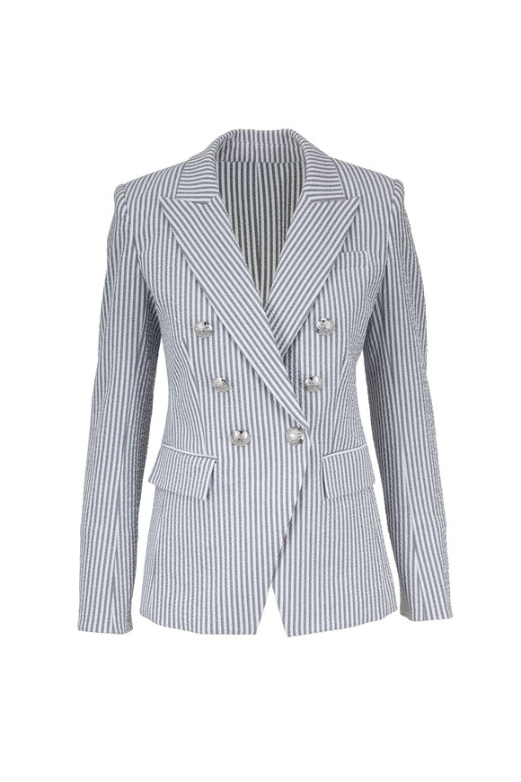 Veronica Beard Miller Gray & White Striped Double-Breasted Jacket
