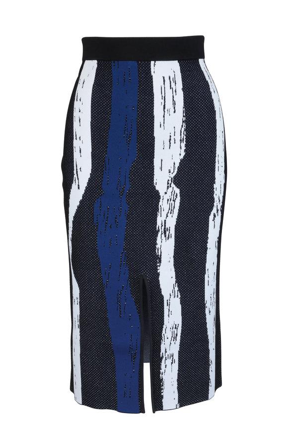 Derek Lam Black & Blue Brush Stroke Slit Skirt