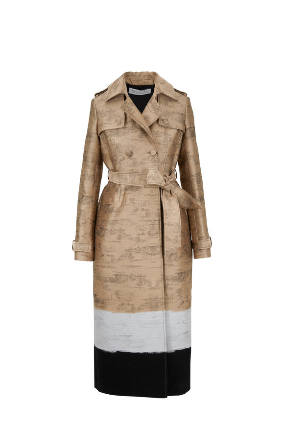 Gabriela Hearst Ceuta Camel, Ivory & Black Colorblock Trench Coat