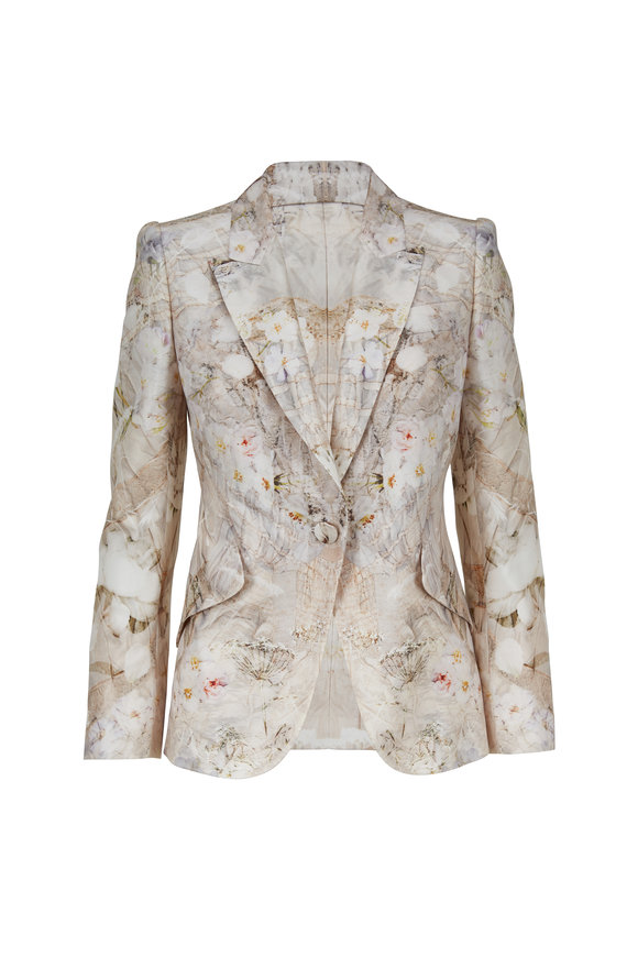 Alexander McQueen Ivory Ophelia Print One Button Jacket