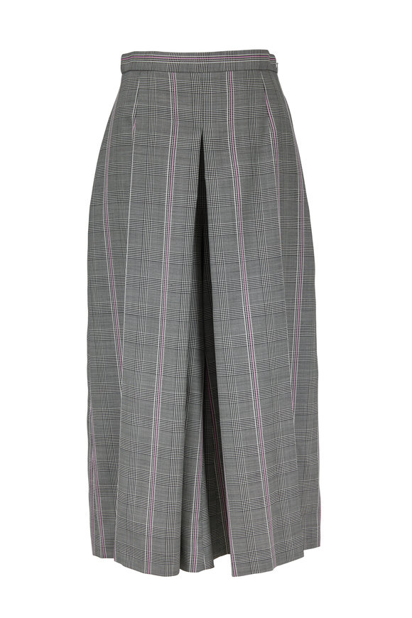 Alexander McQueen Black, White & Pink Plaid Wool Wide Leg Crop Pant