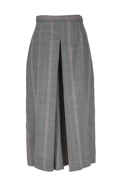Alexander McQueen - Black, White & Pink Plaid Wool Wide Leg Crop Pant