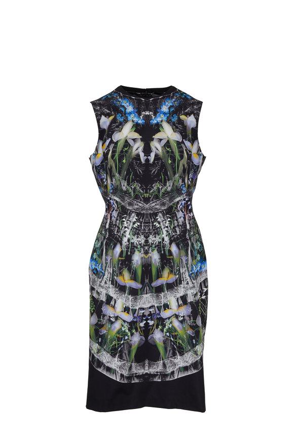 Alexander McQueen Ophelia Black Floral Silk Poplin Dress
