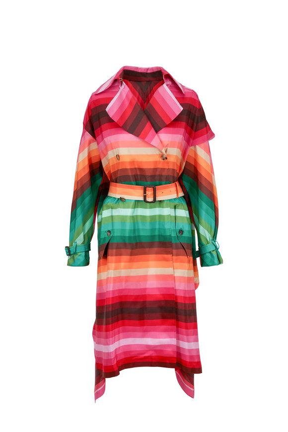 Valentino Bayaderè Muticolor Habotai Silk Trench Coat
