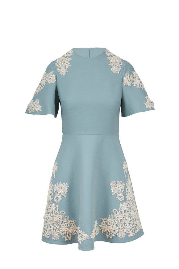 Valentino Dew Crepe Couture Embroidered Bell Sleeve Dress