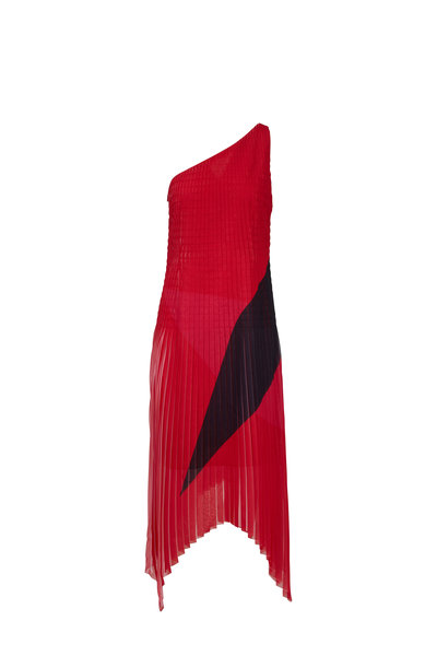 Akris - Red & Black One-Shoulder Georgette Plissé Dress