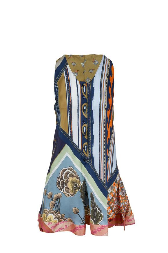 Chloé Multicolor Blue Silk Sleeveless Short Romper