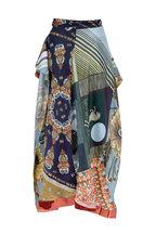 Chloé - Multicolor Blue Silk Belted Mini Skirt