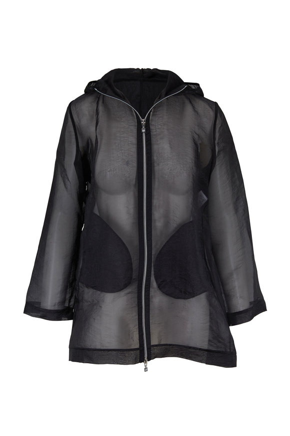 D.Exterior Black Organza Hooded Zip Jacket
