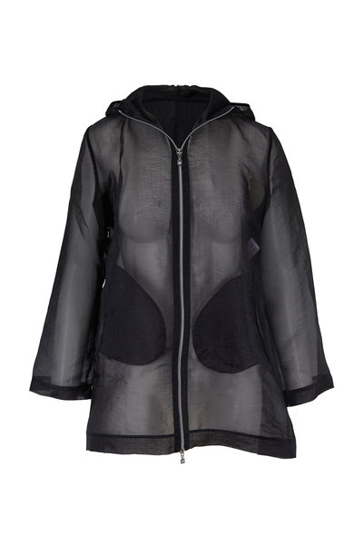 D.Exterior - Black Organza Hooded Zip Jacket