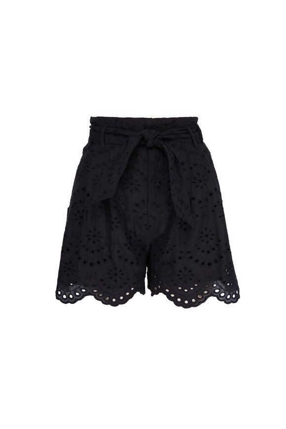 7 For All Mankind Black Eyelet Waist Tie Shorts