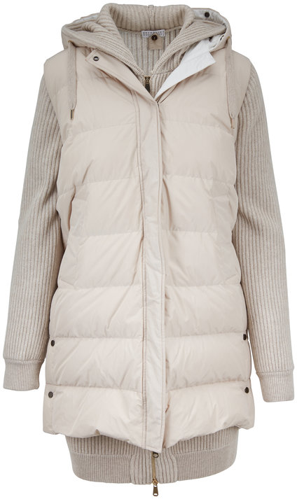 Brunello Cucinelli Oyster Cashmere With Reversible Puffer Vest Jacket