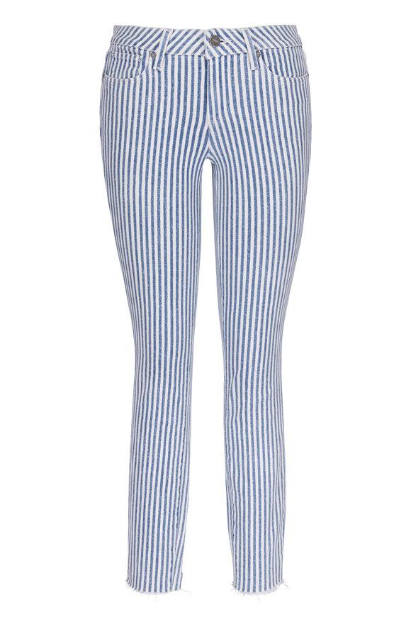Paige Denim Verdugo Sky Blue Crop Striped Jean