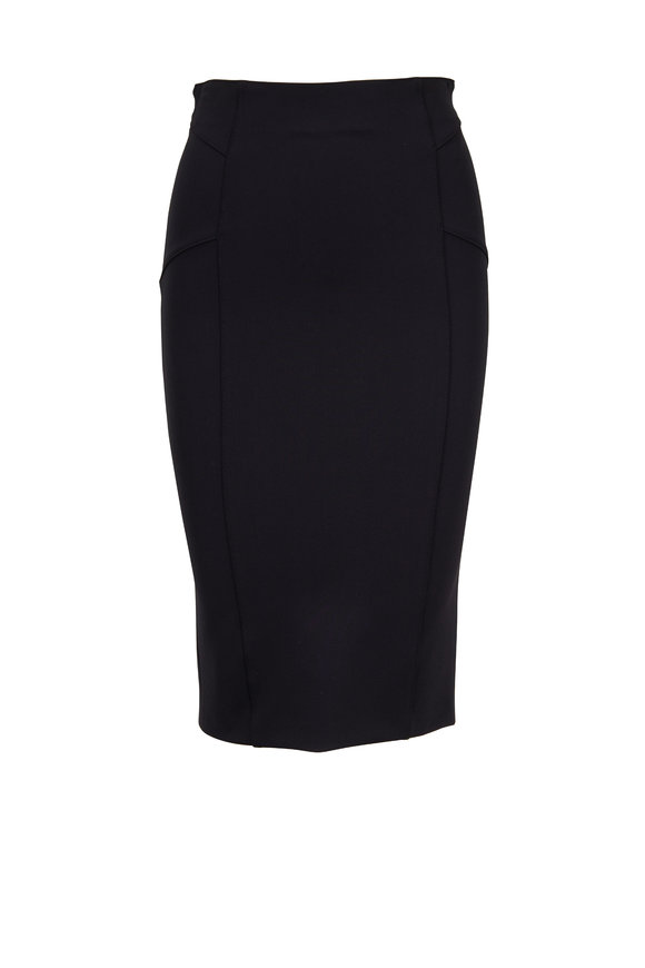 Veronica Beard Vail Black Bi-Stretch Scuba Pencil Skirt