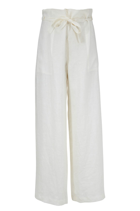 Nili Lotan Esmae Natural White Linen Wide Pant